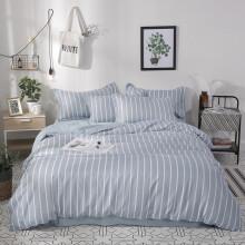 瑞莱思家纺 学生宿舍三件套 床上用品枕套床单被罩 蓝白条纹 1.5米床(被套1.5*2.m)四件套