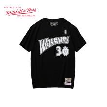 Mitchell Ness球员号码短袖 NBA勇士队男宽松版圆领纯棉T恤 黑色 XL