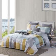 埃迪蒙托 60支300针长绒棉床上套件 简约格子全棉四件套 2272#(蓝)被单款 1.8m床