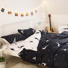 月语家纺 三件套单人被套床单学生宿舍床上下铺床品套件 麋鹿 0.9米-1.2米床三件套