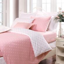 富安娜家纺 四件套水洗棉纯棉全棉床品套件床单被套 纯色简约单双人 暖茶1米8/2米床(230*229cm)橙色 玻璃球-粉