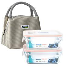 京东国际                                    Glasslock韩国进口钢化玻璃保鲜盒耐热微波炉饭盒套装 两件套赠餐包(700ml*2)/GL1952