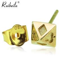ruibeila18K金单个耳钉欧美个性梅花红桃耳饰品男女时尚耳环潮人 单个