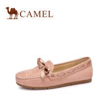 骆驼(CAMEL) 女士 甜美丝带蝴蝶结休闲浅口豆豆鞋 A83512612 粉色 38