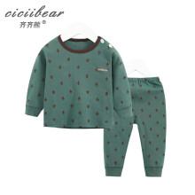 齐齐熊 男女宝宝仙人掌印花罗纹内衣套装婴儿睡衣春衣春裤两件套 灰绿色 100cm建议身高92-98cm