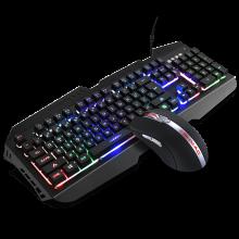 盛美金(SHMAG) 有线键盘鼠标套装 背光机械手感键盘 吃鸡游戏键鼠 笔记本电脑键盘鼠标耳机三件套 黑色彩虹光键盘+M01呼吸灯宏鼠标