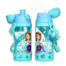 迪士尼(Disney) 儿童吸管水杯小学生两用塑料水瓶户外水壶男女小孩便携防漏小口喝水杯直饮水杯子 苏菲蓝530ml 双盖