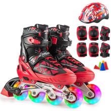 动感溜冰鞋儿童可调男女轮滑鞋成人直排轮旱冰鞋153B-21 红黑全闪鞋+护具+头盔 S/33-36码可调