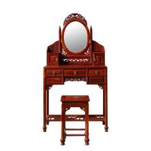 粤顺 中式梳妆台 卧室梳妆台实木化妆台 复古雕花化妆柜HT18