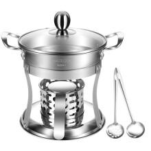 美厨(maxcook)304不锈钢火锅  酒精炉小火锅干锅 送一对火锅勺固体液体酒精通用MCT762