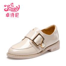 卓诗尼单鞋女漆皮纯色低跟中性皮带装饰112810243 白色 35