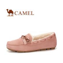 骆驼(CAMEL) 女士 甜美舒适蝴蝶结圆头豆豆鞋 A84507606 粉色(加绒款) 36