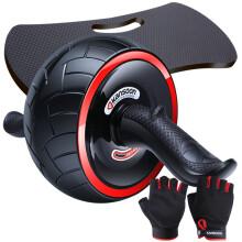 凯速健腹轮巨轮自动回弹防滑腹肌轮收腹滚轮家用健身器材健腹器(带手套、跪垫)黑色PR48