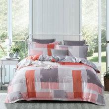 埃迪蒙托 60支300针长绒棉床上套件 简约格子全棉四件套 2271#(红)床笠款 1.8m床