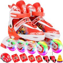 ENPEX乐士 溜冰鞋儿童全套装滑冰鞋可调男女轮滑鞋闪光旱冰鞋 红色八轮全闪 S码