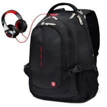 SWISSGEAR瑞士包双肩包15.6英寸笔记本电脑包男士商务背包旅行包中学生书包尼龙通勤包 SA-9601黑色