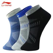 李宁LI-NING 羽毛球袜子男女运动袜短袜三双装081
