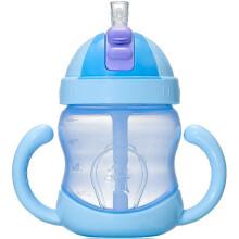 贝儿欣BABISIL 儿童吸管水杯240ml 水壶 学饮杯360ml 训练杯 240ml 粉蓝