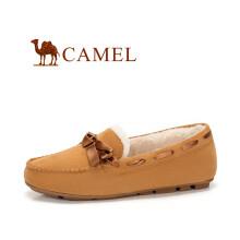 骆驼(CAMEL) 女士 甜美舒适蝴蝶结圆头豆豆鞋 A84507606 棕色(加绒款) 35