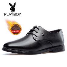 花花公子(PLAYBOY)男士系带加绒保暖商务英伦正装皮鞋男6CW536008D 黑色 40