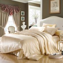 枕水人家 100%桑蚕丝真丝四件套件简约纯色床上用品素色含被套枕套多件套 时光漫步 香槟 200X230(CM)