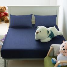 雅鹿自由自在床笠纯棉纯色床上用品加大床笠 老蓝 150*200cm