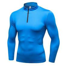 FNMM 男款长袖运动卫衣 健身跑步训练长袖 半拉链弹力速干立领卫衣 蓝色 S