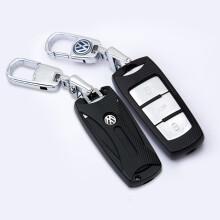 潜劲 大众迈腾钥匙包 迈腾R36 B7L B6钥匙套 大众CC汽车专用钥匙包套壳扣 金属黑+钥匙扣 大众CC 迈腾R36 B7L B6