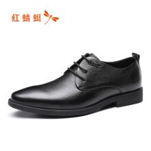 红蜻蜓(RED DRAGONFLY)男士商务正装系带简约舒适皮鞋 WTA87731/32 黑色 42