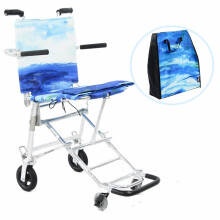 日本中进轮椅折叠轻便小NAH-207便携老年人旅行飞机超轻代步车老人旅游手推车 蔚蓝海岸(大师款)