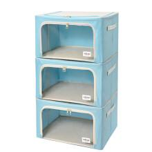 百草园(bicoy)牛津布衣服收纳箱 衣物整理箱储物箱钢架箱大号56L 3枚装 蓝色