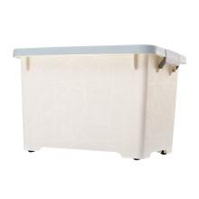 百草园收纳箱塑料整理箱50L大号衣物被子储物箱带滑轮搬家周转箱杂物箱蓝色
