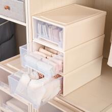 百草园塑料收纳箱整理箱 抽屉式收纳柜储物柜 衣柜收纳盒10L 3个装 透明色