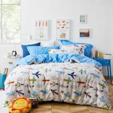 京东超市 多喜爱(Dohia)四件套 卡通全棉床上用品全棉 双人床单被套枕套 飞行梦 1.5/1.8米床 203*229cm
