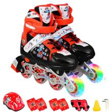 乐士溜冰鞋儿童滑冰鞋全套装 旱冰鞋儿童轮滑鞋 闪光 169(36-39码)红色单闪