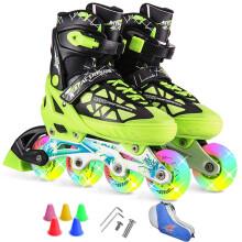 动感冰刀鞋溜冰鞋成人闪光 可调儿童全套装轮滑鞋 青少年男女旱冰鞋153B-21 黑绿鞋全闪光+单肩包 L/40-43码可调