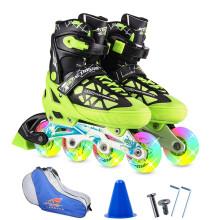 动感ACTION溜冰鞋儿童全套装可调成人直排轮男女溜冰鞋PW-153B-21 黑绿全闪鞋+包 L/40-43码可调