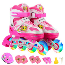 乐士(Enpex)溜冰鞋儿童轮滑鞋 八轮全闪光可调伸缩旱冰鞋男童滑冰鞋女童滑轮鞋成人 170 粉红色 S(适合28-32码)
