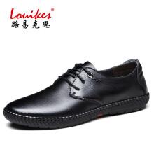 路易克思(Louikes)男士商务休闲鞋驾车鞋牛皮舒适男鞋 黑色 42