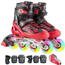 动感冰刀鞋溜冰鞋成人闪光 可调儿童全套装轮滑鞋 青少年男女旱冰鞋153B-21 黑红鞋全闪光+护具+单肩包 M/37-40码可调