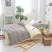 语桐家纺 床上四件套纯色双人单人学生被套三件套宿舍床品 银灰米 1.5床适用(被套180*220cm)