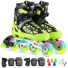 动感冰刀鞋溜冰鞋成人闪光 可调儿童全套装轮滑鞋 青少年男女旱冰鞋153B-21 黑绿鞋全闪光+护具 L/40-43码可调