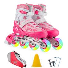 动感ACTION溜冰鞋儿童全套装可调成人直排轮男女溜冰鞋PW-153B-21 粉红全闪鞋+包 S/33-36码可调