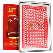 Bosswin扑克牌 国高扑克牌塑料 双面磨砂防水PVC牌 512红色一副