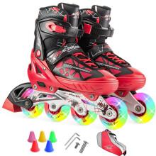 动感冰刀鞋溜冰鞋成人闪光 可调儿童全套装轮滑鞋 青少年男女旱冰鞋153B-21 黑红鞋全闪光+单肩包 S/33-36码可调