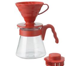 HARIO 日本原装进口耐热玻璃滴滤式咖啡壶套装 VCSD-02R 红色
