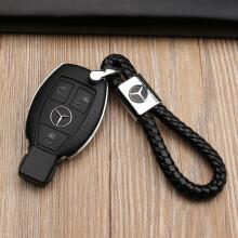 潜劲 奔驰钥匙包GLC300/GLA220/260GLE级320C200L汽车钥匙套扣壳 磨砂黑+手编绳扣