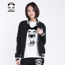 hipanda 你好熊猫 女款 字母棒球服设计潮牌 街头潮牌 黑色 160/M
