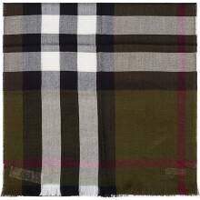 BURBERRY 巴宝莉/博柏利 男款橄榄色格纹羊毛/羊绒围巾 40173501