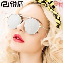 锐盾2017新款范冰冰明星同款太阳镜男女士墨镜炫彩反光圆形V牌眼镜潮人 银框水银片